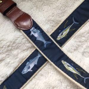 Other - Men's Navy Blue Fish Belt w/Leather Buckle Sz 40